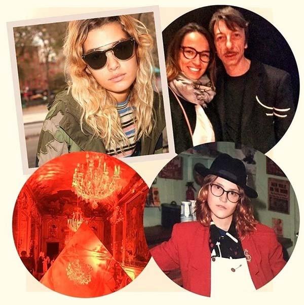 Modelos usam óculos da nova coleção da Valentino; a diretora de redação da Marie Claire, Marina Caruso, e Pierpaolo Piccioli, diretor criativo da maison italiana; e detalhe da instalação em Milão  (Foto: reprodução Instagram)