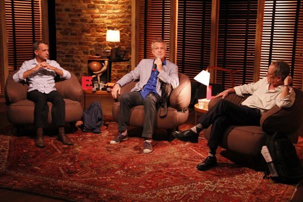 Pedro Bial, Marcel Souto Maior e Luiz Gleiser (Foto: Divulgação TV Globo / Nathalia Fernandes)