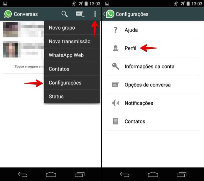 Acessando configurações do WhatsApp no Android (Foto: Reprodução/Helito Bijora)