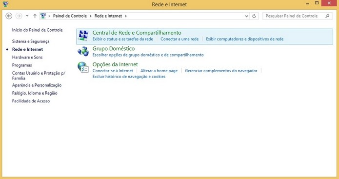 Janela de Redes e Internet do Painel de Controle (Foto: Reprodução/Raquel Freire)