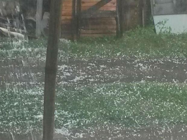pedras para jardim em sorocaba:Moradora registrou pedras de gelo no quintal (Foto: Thalita Nicolau