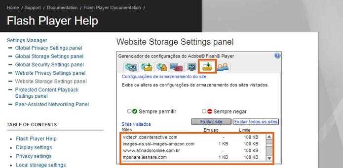 Acesse a lista de sites salvos no cache do Flash Player pelo PC (Foto: Reprodução/Barbara Mannara)