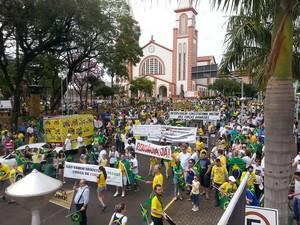 Manifestantes pedem por intervenção militar em Chapecó, no Oeste de SC (Foto: Caroline Toni)