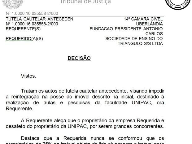Decisão suspende reintegração de posse em Unipac em Uberlândia (Foto: G1/G1)