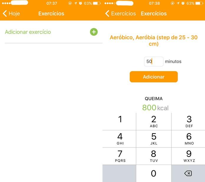 Exercícios registrados no TecnoNutri (Foto: Reprodução/Felipe Vinha)