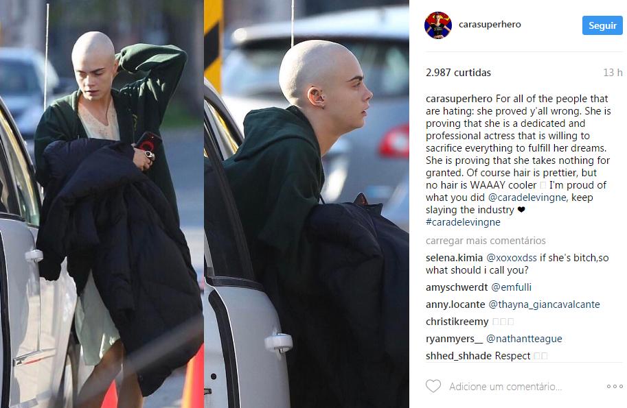 Cara Delevingne careca (Foto: Reprodução/Instagram @carasuperhero)