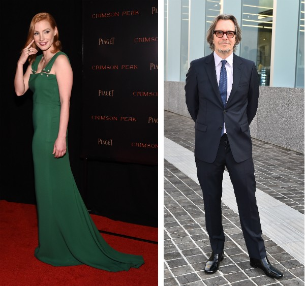 A atriz Jessica Chastain e o ator Gary Oldman (Foto: Getty Images)