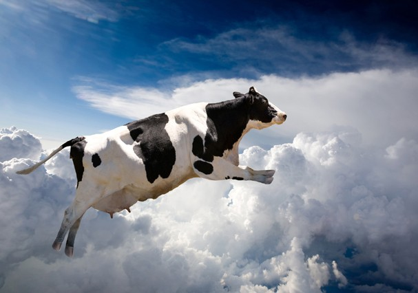 A super cow flying over clouds (Foto: Getty Images/Hemera)