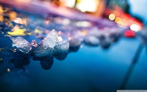 ice and colorful lights