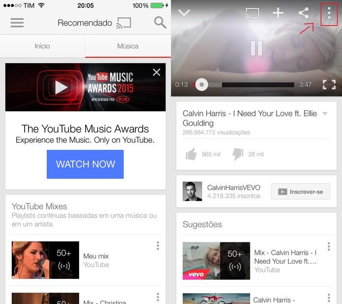 Depois de escolher um vídeo, clique no ícone com três pontos no canto superior direito (Foto: Reprodução/Juliana Pixinine)