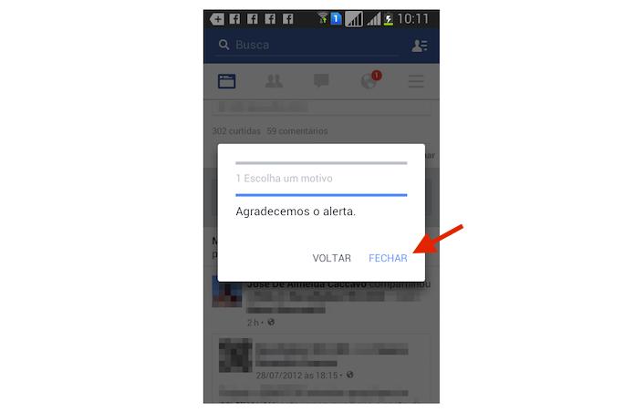Finalizando o processo para ocultar um anúncio do Feed de Notícias do Facebook pelo Android (Foto: Reprodução/Marvin Costa)