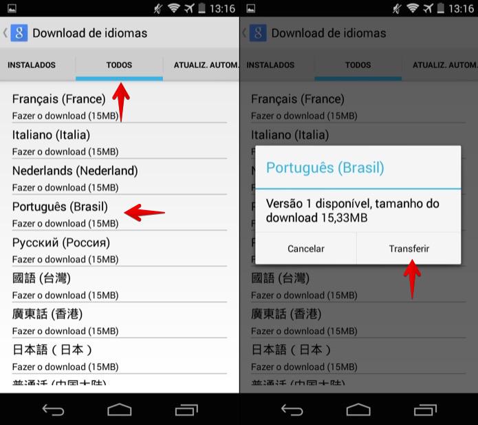 Baixando o pacote de idiomas português do Brasil (Foto: Reprodução/Helito Bijora)