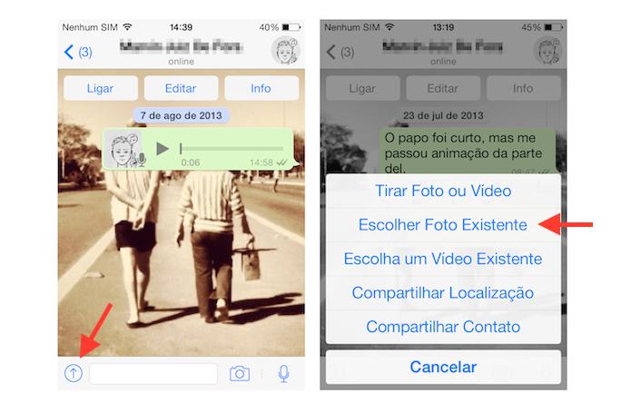 Acessando a biblioteca de imagens do iOS através do WhatsApp (Foto: Reprodução/Marvin Costa)