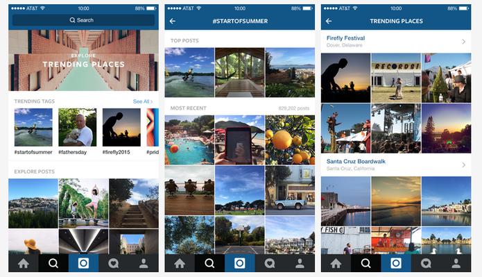 Veja telas do novo Explorar, do Instagram, com tópicos de tendências (Foto: Divulgação/Instagram)