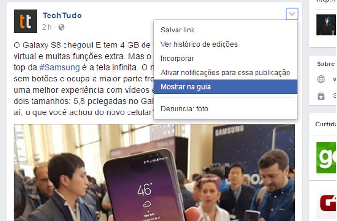 """Clique em """"Mostrar na guia"""" para que Facebook abra post em janela pop-up (Foto: Reprodução/Gabrielle Lancellotti)"""