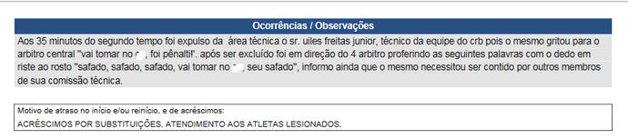 Súmula Joinville x CRB, xingamentos de Mazola Júnior (Foto: Reprodução CBF)