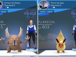 Estátuas dos Orixás do Dique do Tororó e a Torre da Lapa são ginásios de Pokémon Go em Salvador (Foto: Reprodução / Pokémon Go)