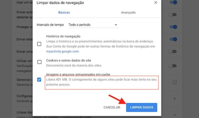 Limpe os dados em cache no Google Chrome (Foto: Reprodução/Marvin Costa)