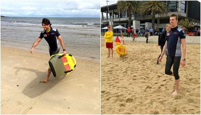Daniil Kvyat e Carlos Sainz Jr. na praia na Austrália