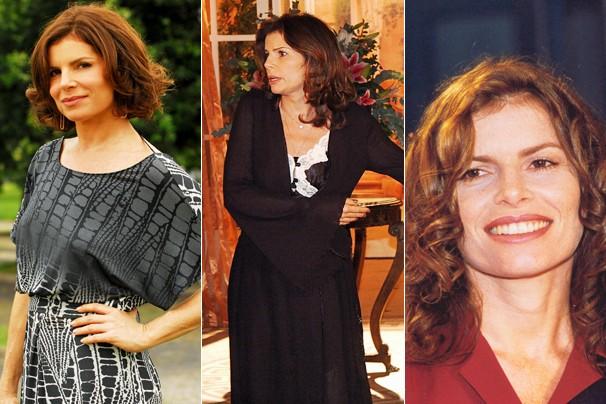Em Caminho das Índias (2009), como Sílvia Cadore; em A Lua me Disse (2005), como Madô; e em Andando nas Nuvens (1999), como Júlia Montana (Foto: CEDOC Globo)