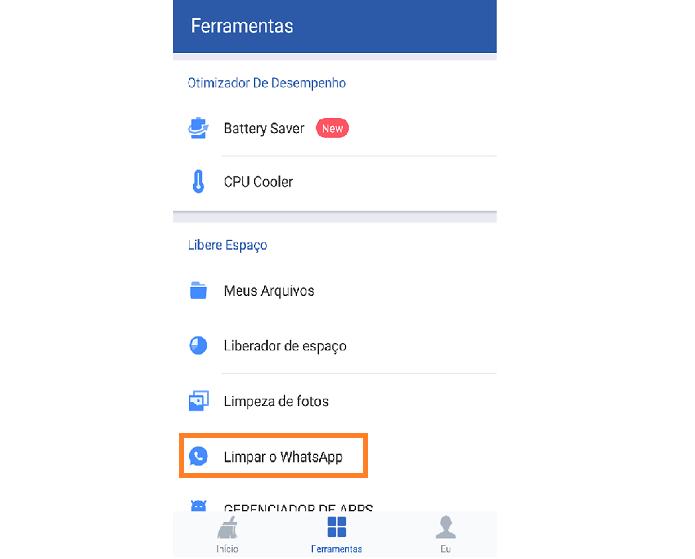 Vá no menu Ferramentas e escolha a opção Limpar WhatsApp (Reprodução/Carol Danelli)