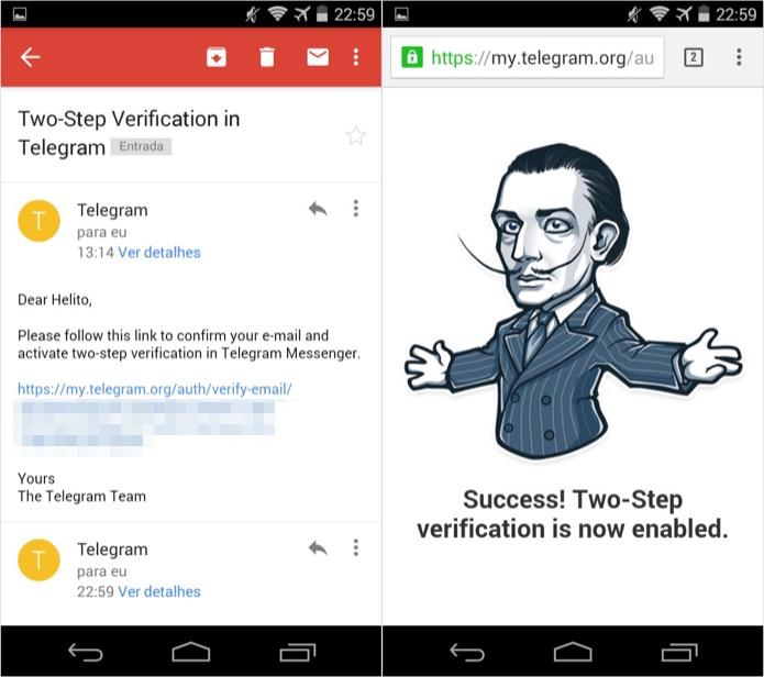 Clique no link para confirmar o e-mail e ativar a verificação em duas etapas (Foto: Reprodução/Helito Bijora)