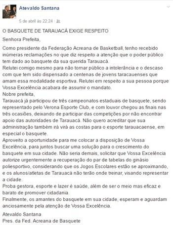 Atevaldo Santana, presidente da Feab, cobra providências (Foto: Reprodução/Facebook)