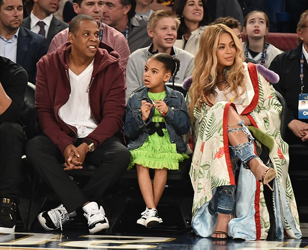 Jay Z, Blue Ivy Carter e Beyoncé (Foto: Getty Images)