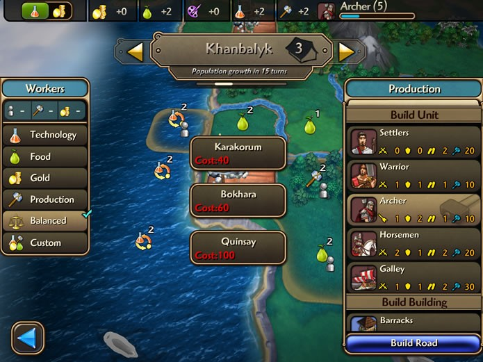 Em Civilization Revolution 2 a administração das cidades é feita em uma interface diferenciada (Foto: Reprodução/Daniel Ribeiro)