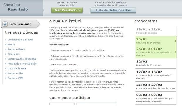 Resultado do Prouni foi divulgado por volta das 9h desta segunda (25).  (Foto: Reprodução)