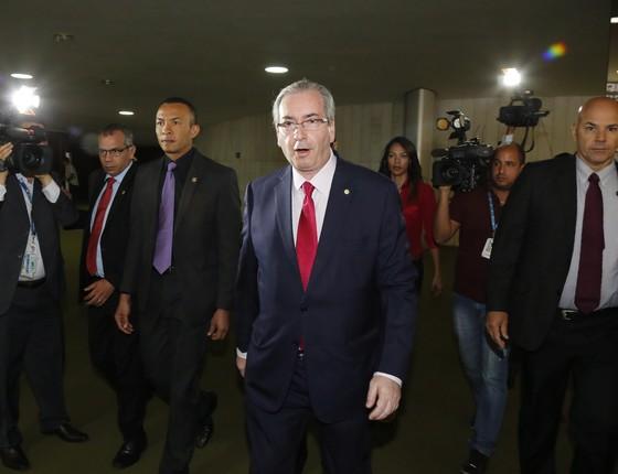 O Presidente da Câmara dos Deputados, Eduardo Cunha (PMDB-RJ) durante sua chegada em seu gabinete na Câmara (Foto: Aílton de Freitas / Ag. O Globo)