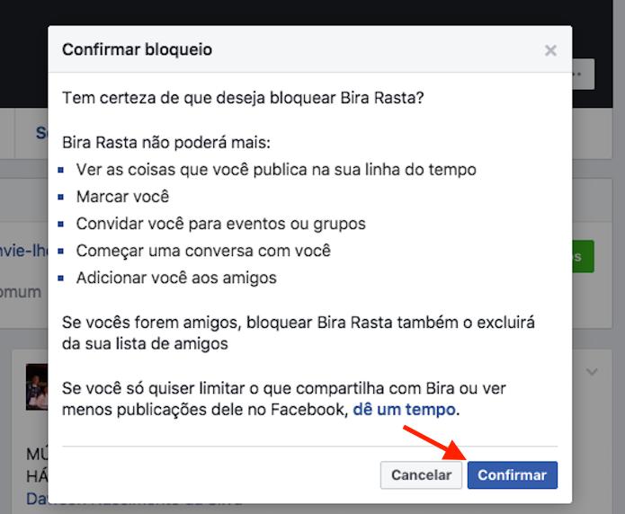 Opção para bloquear uma pessoa que não é mais amiga no Facebook (Foto: Reprodução/Marvin Costa)