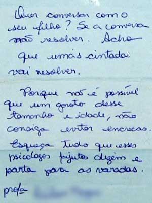 Em bilhete, professora de escola municipal de Sumaré sugere que pais usem cinta e vara para educar aluno (Foto: Reprodução EPTV)