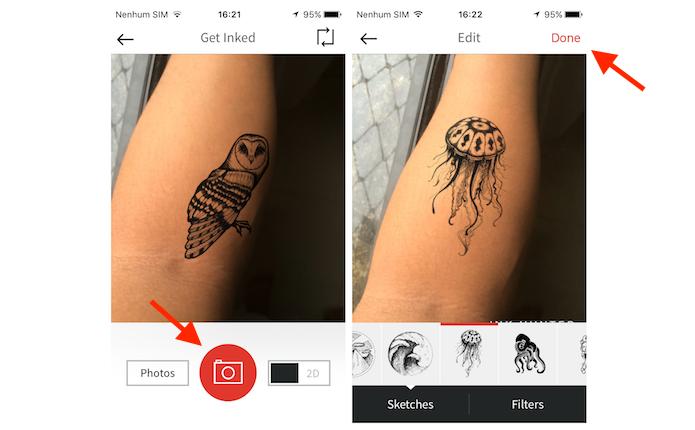 Inserindo a simulação de tatuagem no braço com o inkHunter para iPhone (Foto: Reprodução/Marvin Costa)