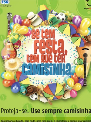 Cartaz da campanha do Ministério da Saúde pelo sexo seguro no carnaval (Foto: Divulgação/Ministério da Saúde)