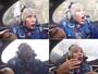 Lolo Jones grita e faz caras e bocas durante voo em aeronave acrobática
