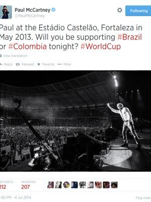 Paul McCartney lembra foto no Castelão antes de jogo da Copa