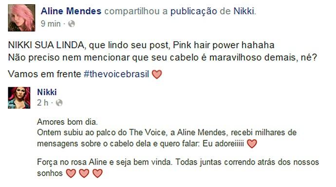 post rede social nikki aline mendes (Foto: Reprodução)