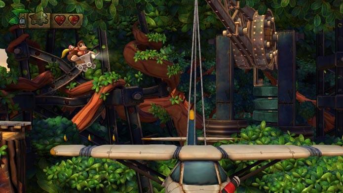 Donkey Kong usa uma variedade de animais e veículos no game (Foto: Reprodução/Murilo Molina)