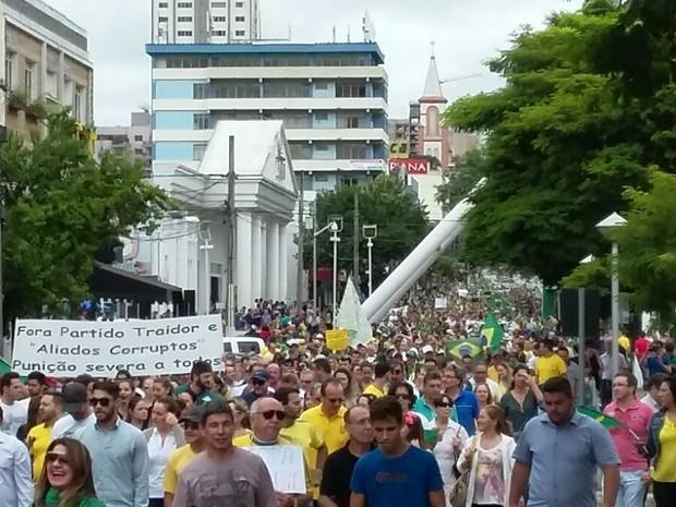 Moradores de Chapecó protestaram contra a corrupção (Foto: Divulgação)