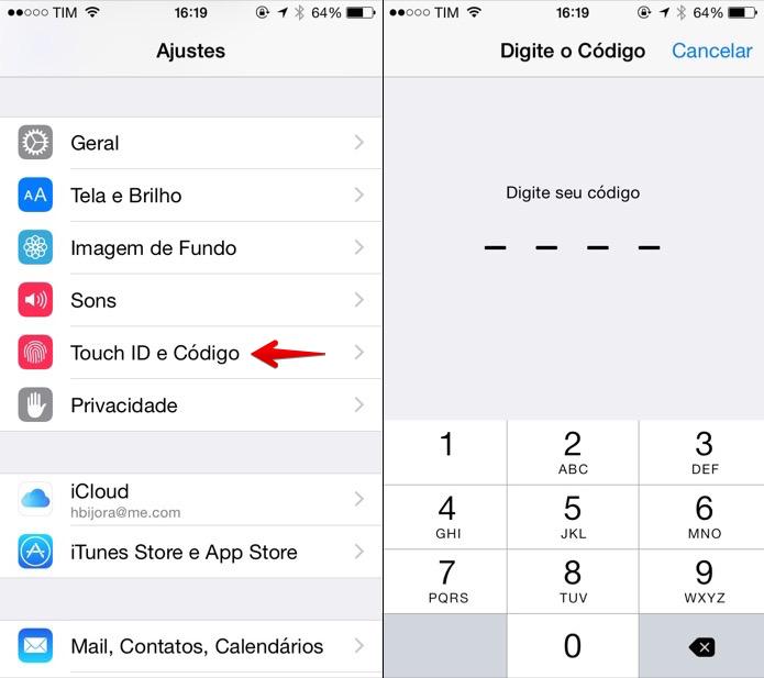 Acesse as configurações de segurança do iOS (Foto: Reprodução/Helito Bijora)
