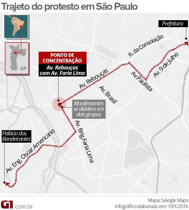 Mapa trajeto das manifestações MPL desta terça-feira (Foto: Arte/G1)