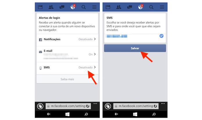 Configurando alertas de login via SMS no Facebook pelo Windows Phone (Foto: Reprodução/Marvin Costa)