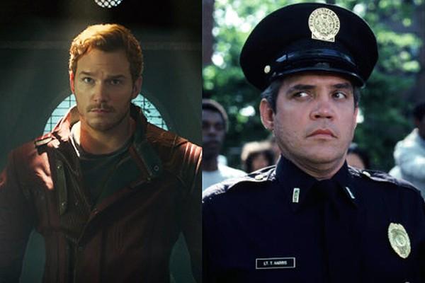 Chris Pratt em 'Guardiões da Galáxia' (2014) e G.W. Bailey como Tenente Harris em 'Loucademia de Polícia' (1984) (Foto: Divulgação)