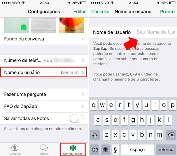 Use um nome de usuário para manter seu telefone em sigilo (Foto: Reprodução/Paulo Alves)