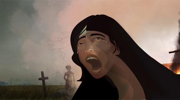 Cena de Ana Terra que faz parte da animação da abertura da minissérie O Tempo e o Vento (Foto: Reprodução)