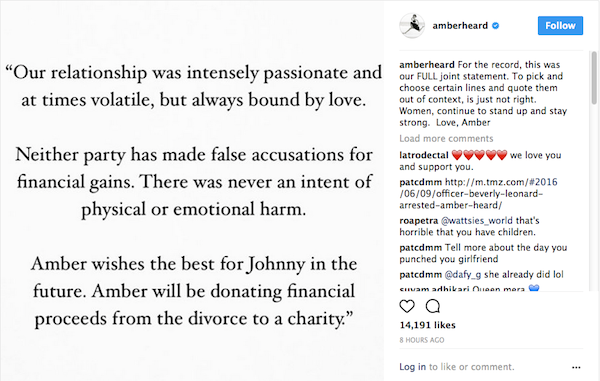 A declaração de Amber Heard sobre o texto de J.K. Rowling referente a Johnny Depp (Foto: Instagram)