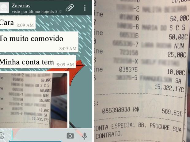 Skatista enviou mensagem para um amigo mostrando o valor arrecadado (Foto: G1 Piauí)