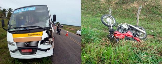 Segundo o CPRE, colisão entre o micro-ônibus e a moto foi frontal (Foto: Kléber Teixeira/Inter TV Cabugi)