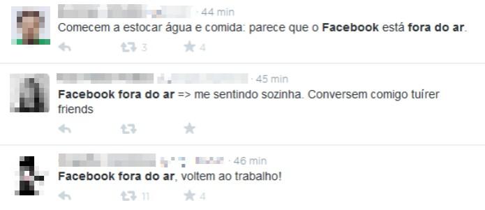 Usuários do Twitter reclamam de queda do Facebook no microblog (Foto: Reprodução/Twitter)